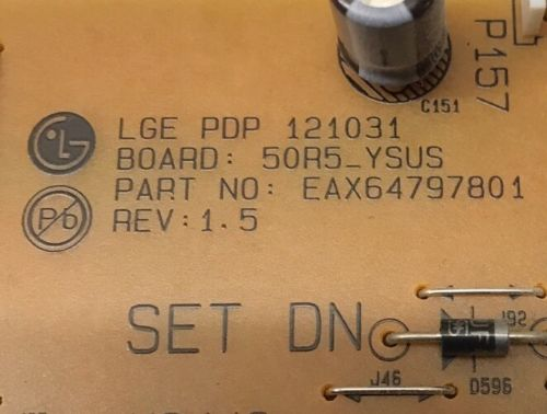 LG EAX64797801 (EBR76800201) YSUS BOARD FOR LG MODEL 50PN5300 TV