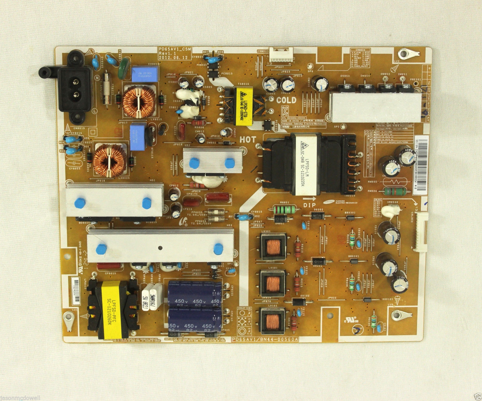 Samsung UN65EH6000F Power Board Supply Unit LED BN44-00560A PD65
