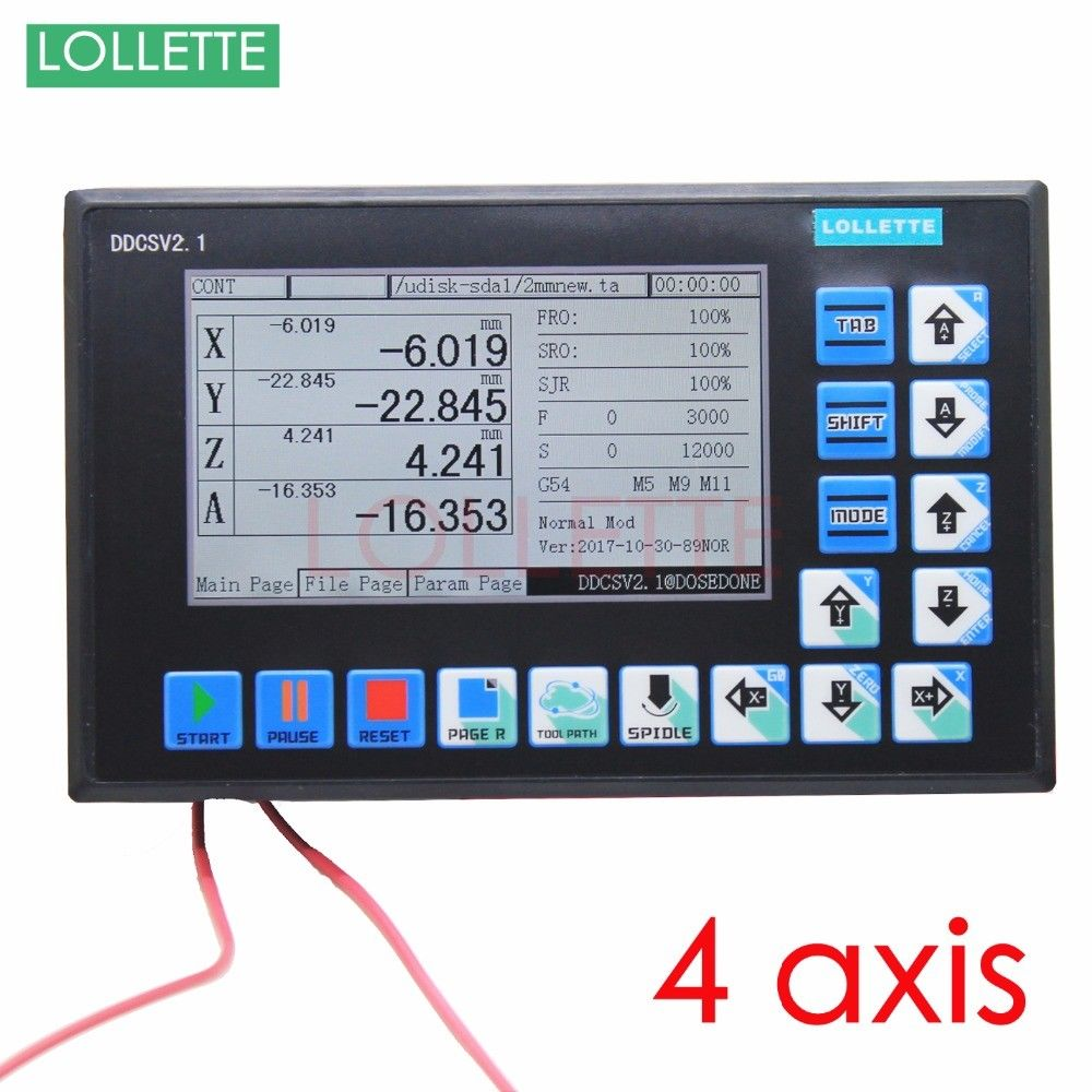 DDCSV2.1 CNC Control System USB 500KHz 4 Axis Motion Controller TFT Linkage