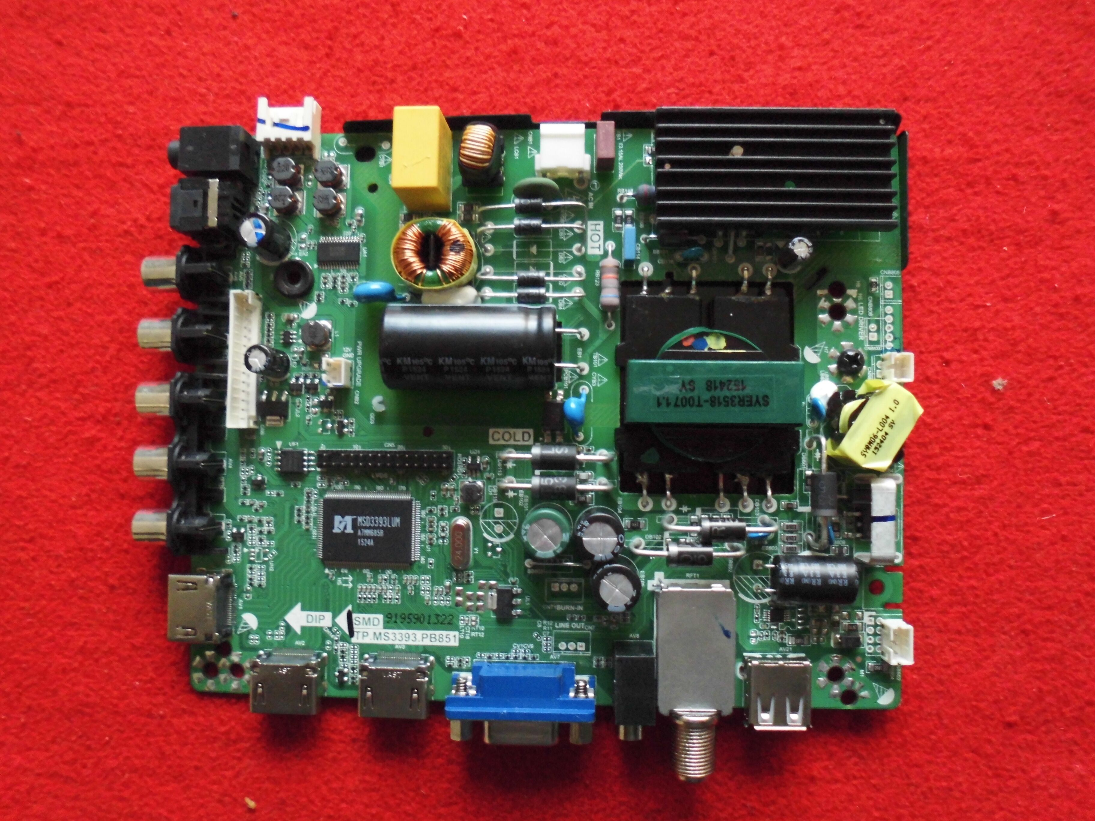 Hisense 173395 Main Board/Power Supply for 40H3E TP.MS3393.PB851