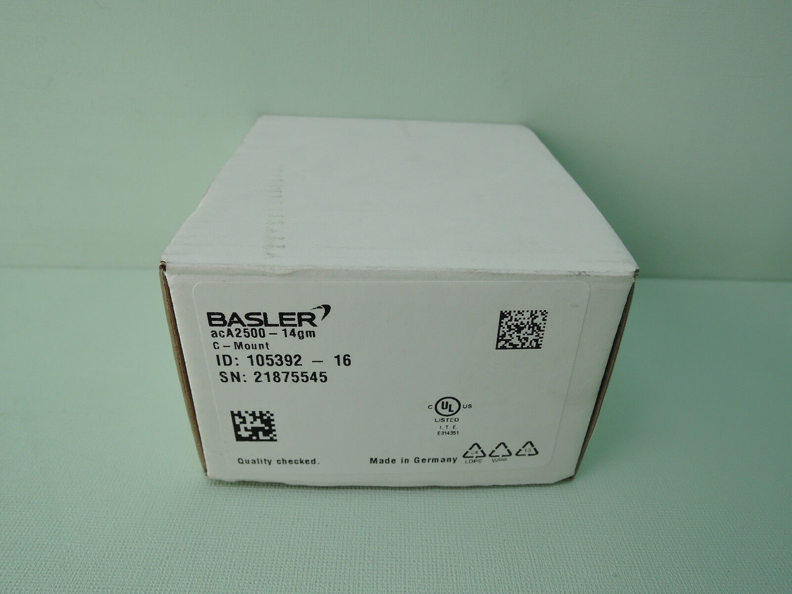 "New Basler acA2500-14GM ACE Camera, 14FPS @ 5 MP Resolution, 1/25"" Image Circle"