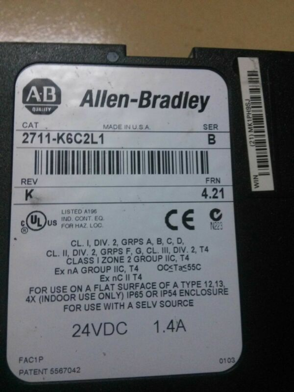 Allen Bradley 2711-K6C2L1 2711K6C2L1 Used and Tested 1PCS