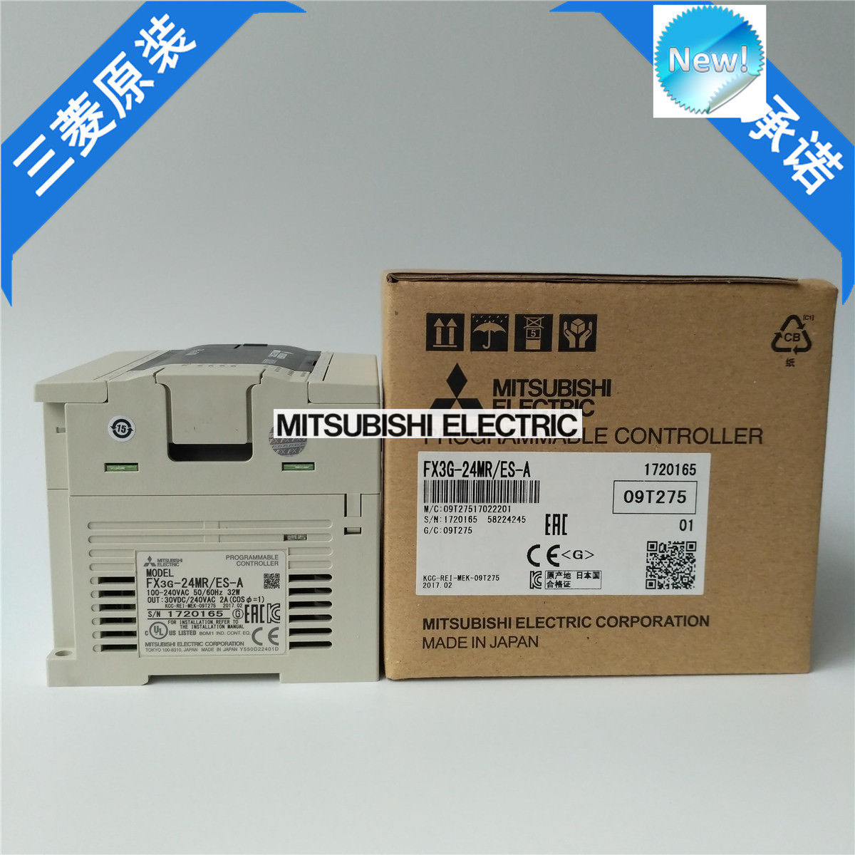 New Mitsubishi PLC FX3G-24MT/ES-A In Box FX3G24MTESA